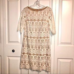 White and Cream Lace 3/4 Sleeve Sheath Dress